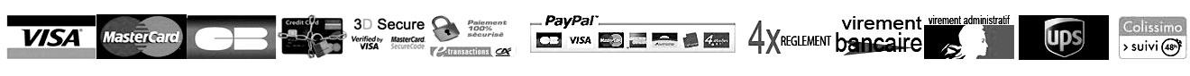 Règlement : CB , Visa, MasterCard, ECard, Paypal, 4 fois sans frais, Chorus, , livraison UPS et Colissimo Suivi