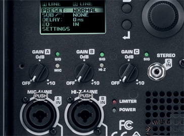 Entrées audio de l'enceinte amplifiée QSC K2