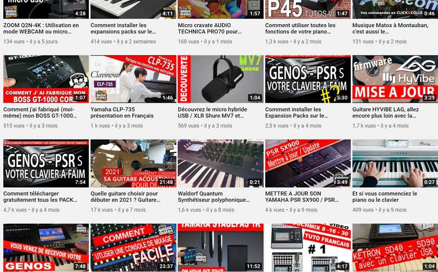 vidéos, tutos, playlists, youtube